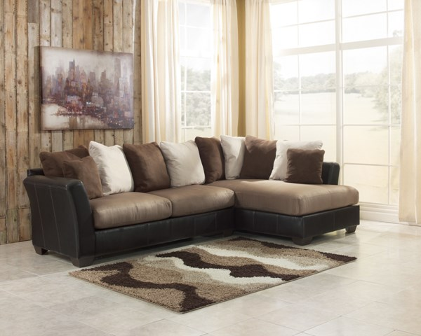 Masoli Contemporary Mocha Faux Leather Fabric LAF Sofa 1420166