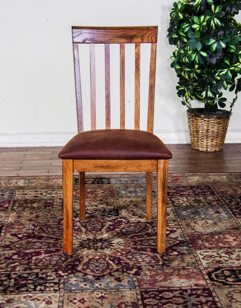 2 Sedona Rustic Oak Wood Armless And Slat Back Cushions Dining Chairs 1424RO-CT