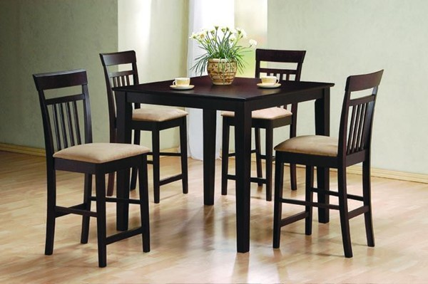Casual Cappuccino Wood Fabric 5pc Counter Height / Bar Set CST-150041