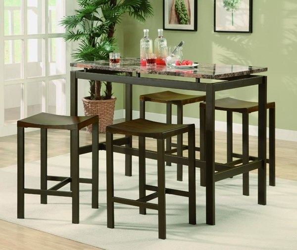 Atlas Contemporary Brown Metal 5pc Pack Counter Height / Bar Sets CST-150096