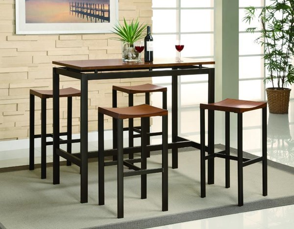 Atlas Contemporary Black Metal 5pc Pack Counter Height / Bar Set CST-150097