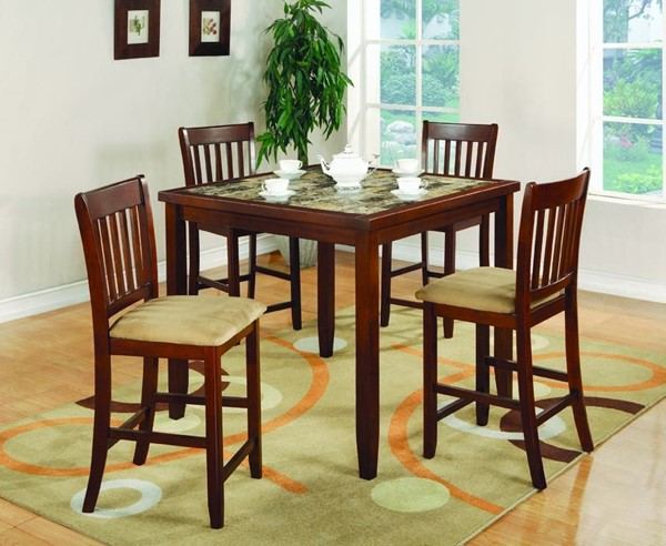 Transitional Cherry Wood Fabric 5pc Pack Counter Height / Bar Set CST-150154