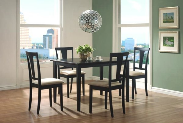 Coaster Furniture Black Wood Fabric 5pc Dining Room Set CST-150181N