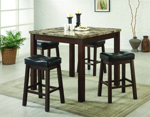 Sofie Dark Cherry Faux Marble Wood 5pc Pack Counter Height / Bar Set CST-150302
