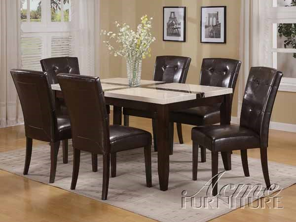Justin White Walnut PU Faux Marble Wood 7pc Dining Table Set ACM-16550-S