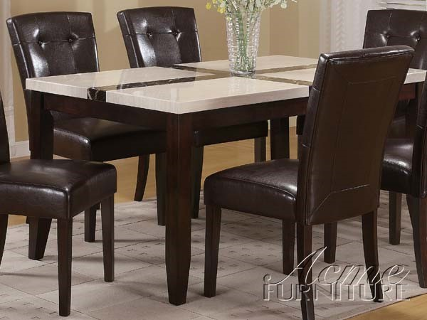 Justin Transitional White Walnut Faux Marble Wood Dining Table ACM-16550