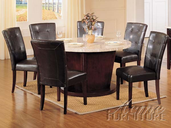 Britney White Espresso Marble PU Wood 7pc Dining Table Set ACM-17148-S