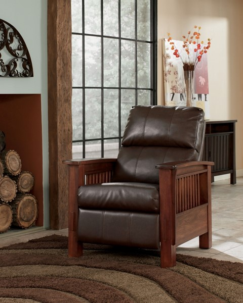 Santa Fe - Bark Traditional Bark Faux Leather Wood High Leg Recliner 1990026