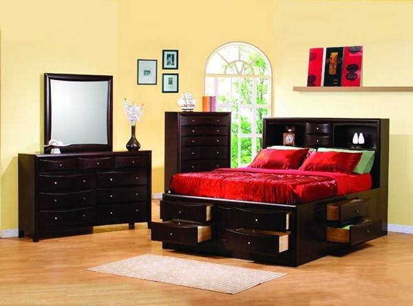 Phoenix Deep Cappuccino 2pc Bedroom Set W/King Bookcase Chest Bed CST-2004-S1