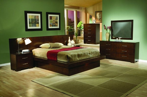 Jessica Contemporary Cappuccino Wood 2pc Bedroom Set W/Queen Bed CST-20071-S3