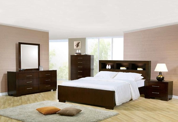Jessica Contemporary Cappuccino Solid Wood 5pc Bedroom Set W/King Bed CST-20071-S7