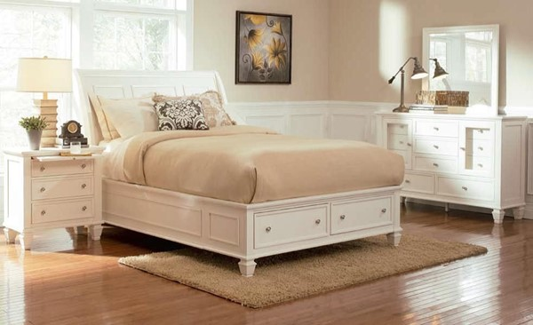 Sandy Beach Country White 2pc Bedroom Set W/Drawer Storage King Bed CST-20130-S4