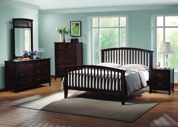 Tia Transitional Cappuccino Wood 2pc Bedroom Set W/Queen Bed CST-202081-BR-S