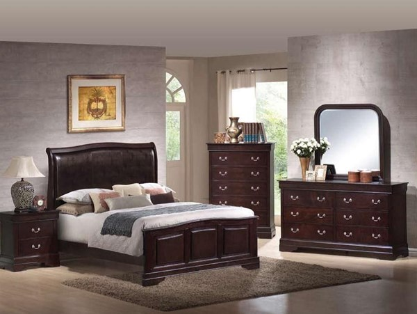 Louis Philippe Traditional Cappuccino Master Bedroom Set CST-20398N
