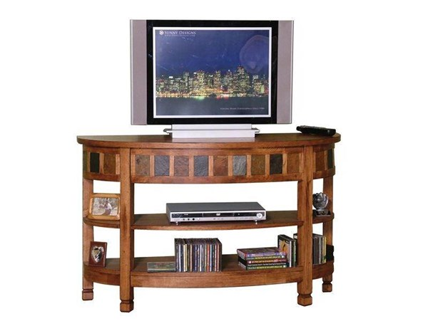Sedona Rustic Oak Wood Open Storage Curved Entry TV Console 2135RO