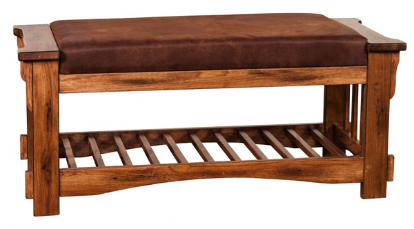 Sedona Rustic Oak Wood Armless And Backless Storage Cushioned Bench 2237RO