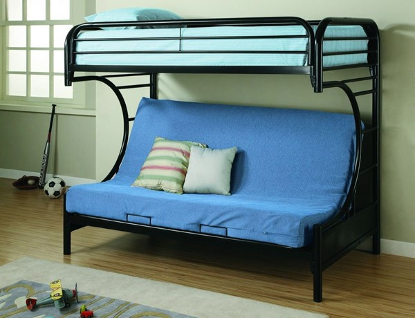 Black Metal Twin/fullton W/Convertible Futon CST-2253-BUNK-VAR