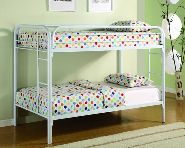 White Metal Build In Ladder Twin/Twin Bunk Bed CST-2256W
