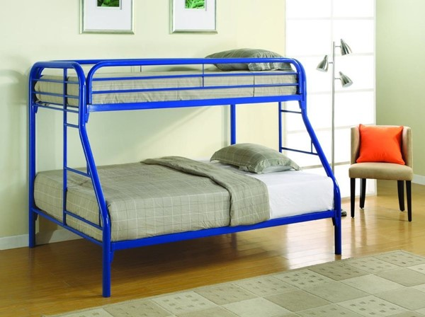Blue Metal Built In Ladder Twin/full Bunk Bed CST-2258B