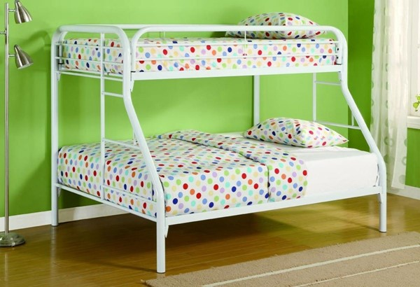 White Metal Built In Ladder Twin/full Bed CST-2258W
