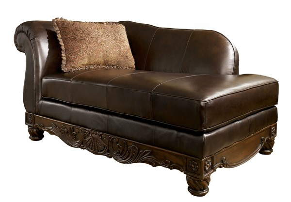 North Shore Old World Dark Brown Wood Leather LAF Corner Chaise 2260316