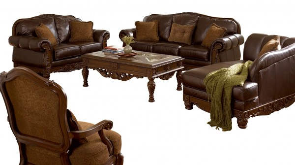 north shore old world brown wood leather fabric 3pc living room set - North Shore Living Room Set