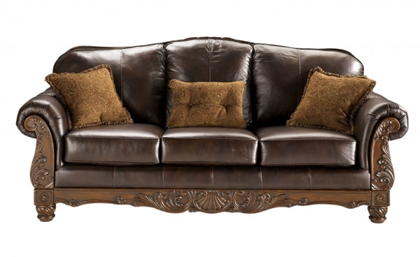 North Shore Old World Dark Brown Wood Leather Sofa 2260338
