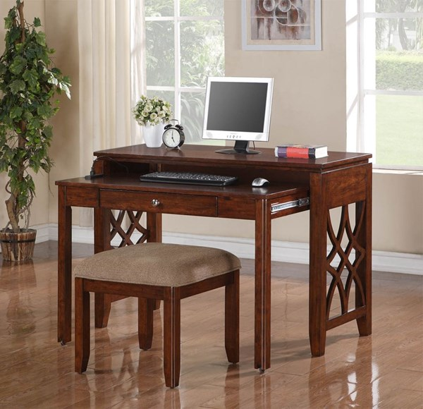 Woodmont Rich Brown Cherry Wood Desk/Entertainment Combo Std-23448