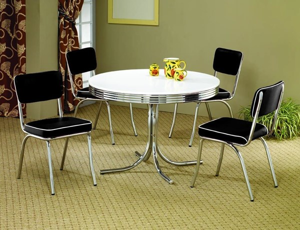 Contemporary Black Metal 5pc Dinette Set W/Round Table CST-2388SET-1