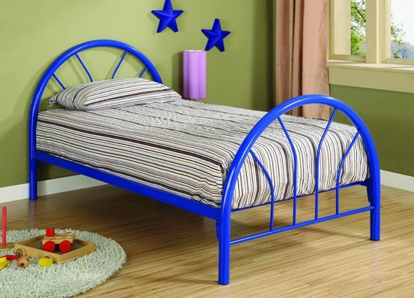 Blue 2 Inch Metal Tubing Twin Bed CST-2389N