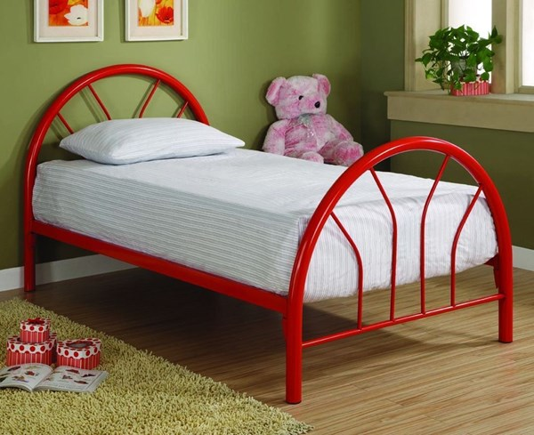 Red 2 Inch Metal Tubing Twin Bed CST-2389R