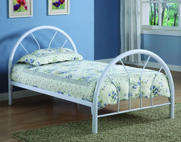 White 2 Inch Metal Tubing Twin Bed CST-2389W