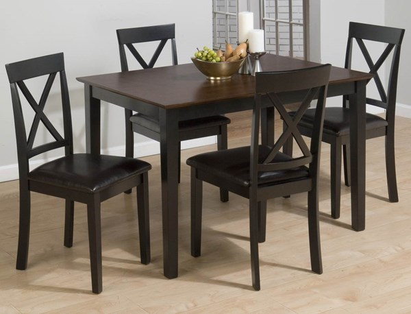 Burly Casual Brown Black Wood Faux Leather Table w/4 X Back Chairs JFN-261