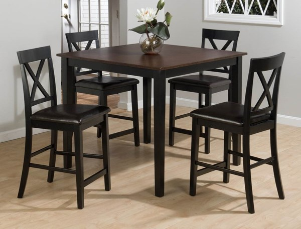 Burley Brown Black Wood Faux Leather 5 pc Pack w/Table & 4 Stools JFN-262
