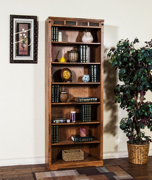 Sedona Rustic Oak Wood Wall Recessed Tall 84 inch Bookcase 2952RO-84