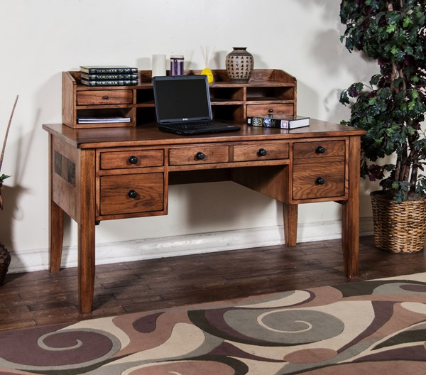 Sedona Rustic Oak Wood Rectangle Writing Desk With Hutch K2962RO