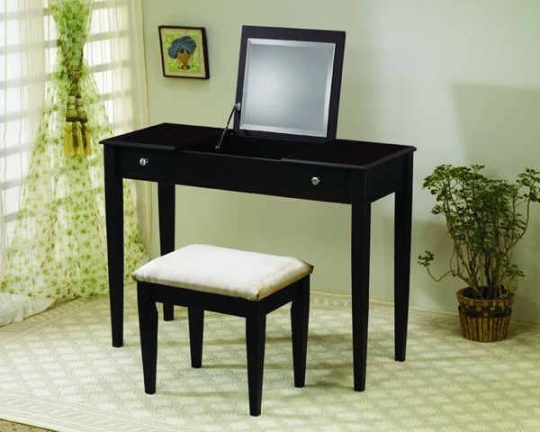 Contemporary Cappuccino Wood Vanity & Stool Set CST-300080