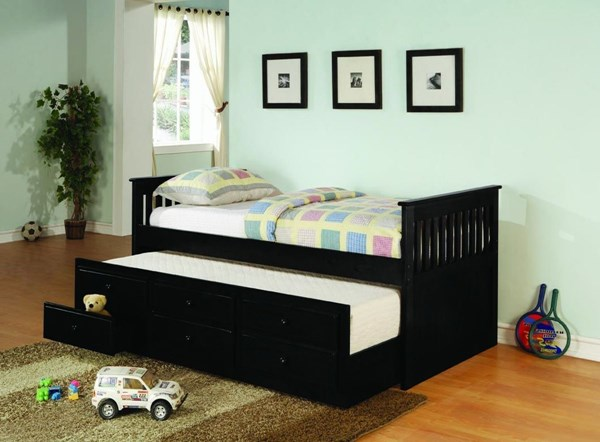 Black White Wood Metal Day Bed W/Trundle CST-3001-BNDL