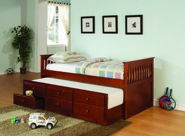 Transitional Solid Wood Cherry Framed Twin Daybed with Trundle CST-300105