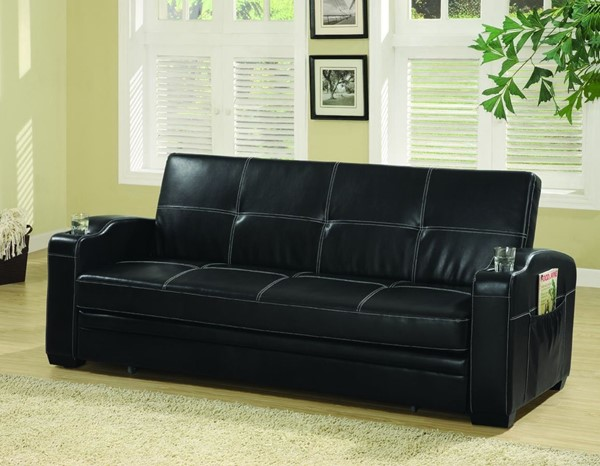 Coaster Furniture Black Storage and Cup Holders Sofa Bed CST-300132