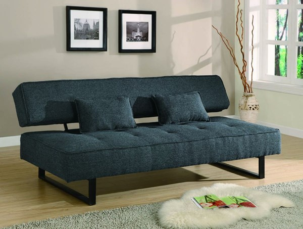 Contemporary Dark Grey Metal Fabric Armless Sofa Bed CST-300137