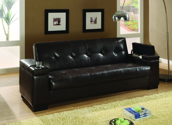 Dark Brown Wood Faux Leather Storage Sofa Bed CST-300143