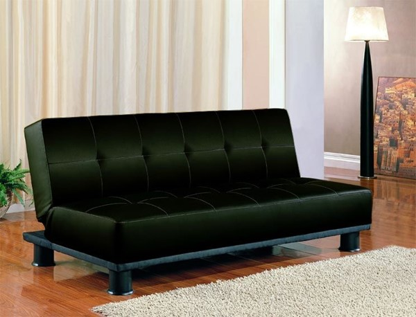 Black Beige Faux Leather Metal Tufted Seat Sofa Bed CST-300163