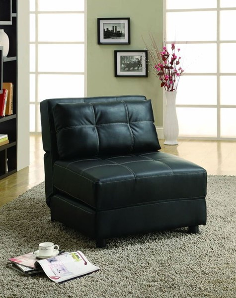 Casual Black Leather Like Vinyl Lounge Chair W/Cushion Back CST-300173