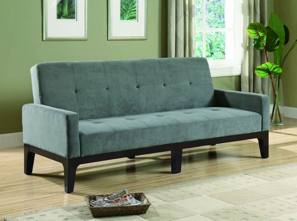 Casual Blue Gray Fabric Wood Sofa Bed W/Tufted Seat CST-300229
