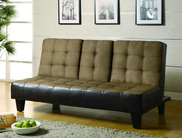Tan Dark Brown Fabric Tufted Back Sofa Bed CST-300237
