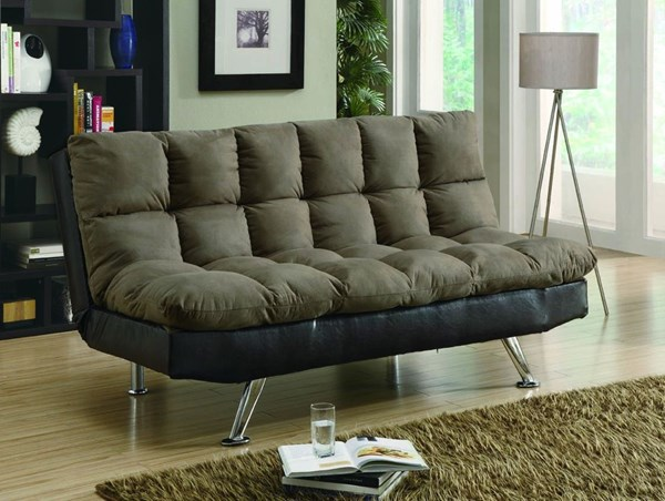 Contemporary Brown Fabric Metal Sofa Bed W/Tufted Seat CST-300306