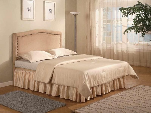 Classic Tan Wood Fabric Bedroom Set W/Nailheads CST-30036