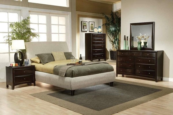 Phoenix Deep Cappuccino 2pc Bedroom Set W/Fabric Wrapped Beds CST-300369-BRS-VAR