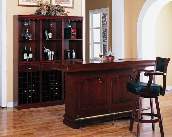 Traditional Cherry Wood Leather 5pc Bar Set CST-3078SET